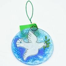 Dove Religious Fused Art Glass Ornament Sun Catcher Handmade Ecuador image 1