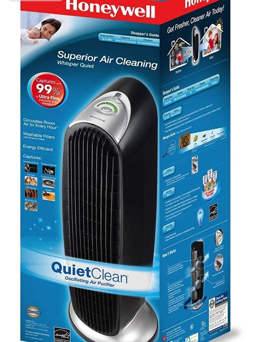 Honeywell QuietClean Tower Air Purifier Washable Filter Quiet Smoke Odor Cleaner