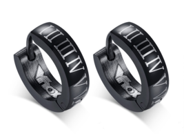 Punk Black Hoop Earrings for Men Roman Numerals High Quality Stainless - $9.99