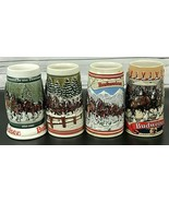 SET OF 4 Anheuser Busch Christmas Holiday Steins BUDWEISER 1983 1984 198... - $69.69