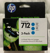 HP 712 Cyan 3 Pack DesignJet Ink Cartridge 3ED77A Exp 2022 OEM Sealed Retail Box - $62.35