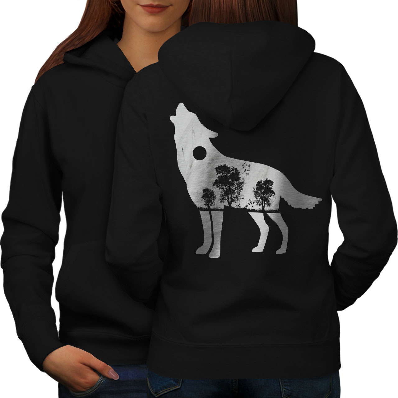 Primary image for Wolf Wild Nature Animal Sweatshirt Hoody Tree View Women Hoodie Back