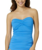 NEW Anne Cole Twist front Ruched Solid Bandeau Tankini Top Sky Blue Plu... - $37.61