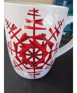 2012 Starbucks White with Large Red Sputnik Like Snowflake Coffee Mug! Nice - $6.43