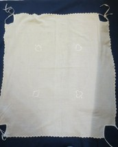 Vintage Embroidered Bridge Poker Card Table Cloth Scalloped edges ties - $10.00