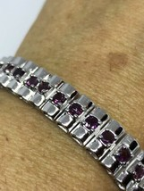 Vintage Garnet Bracelet 925 Sterling Silver Red Deco Design Genuine Stones - $183.15