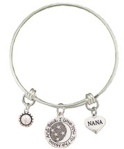 Nana Love You To The Moon Silver Wire Adjustable Bracelet Heart Jewelry ... - $14.72