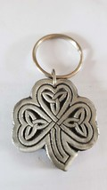 british pewter large shamrock design keyring, keyring, keyfob, keychain,  uk,