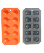 Halloween Pumpkin & Skulls Ice Cube Trays Flexible Plastic Candy Chocola... - $11.87