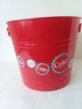 "Coca Cola Plastic Pail Bucket Ice Bucket with Cut Out Handles 10"" D 9"" Tall - $8.90"