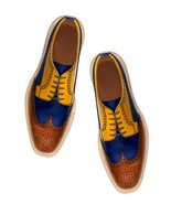 Bespoke Handmade Tan Blue Brown Ankle Lace Up Leather Shoes for Men - $159.97+
