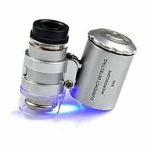 Smallest Jeweler's Microscope 60X 2 LED Mini Pocket Microscope Magnifier Jeweler