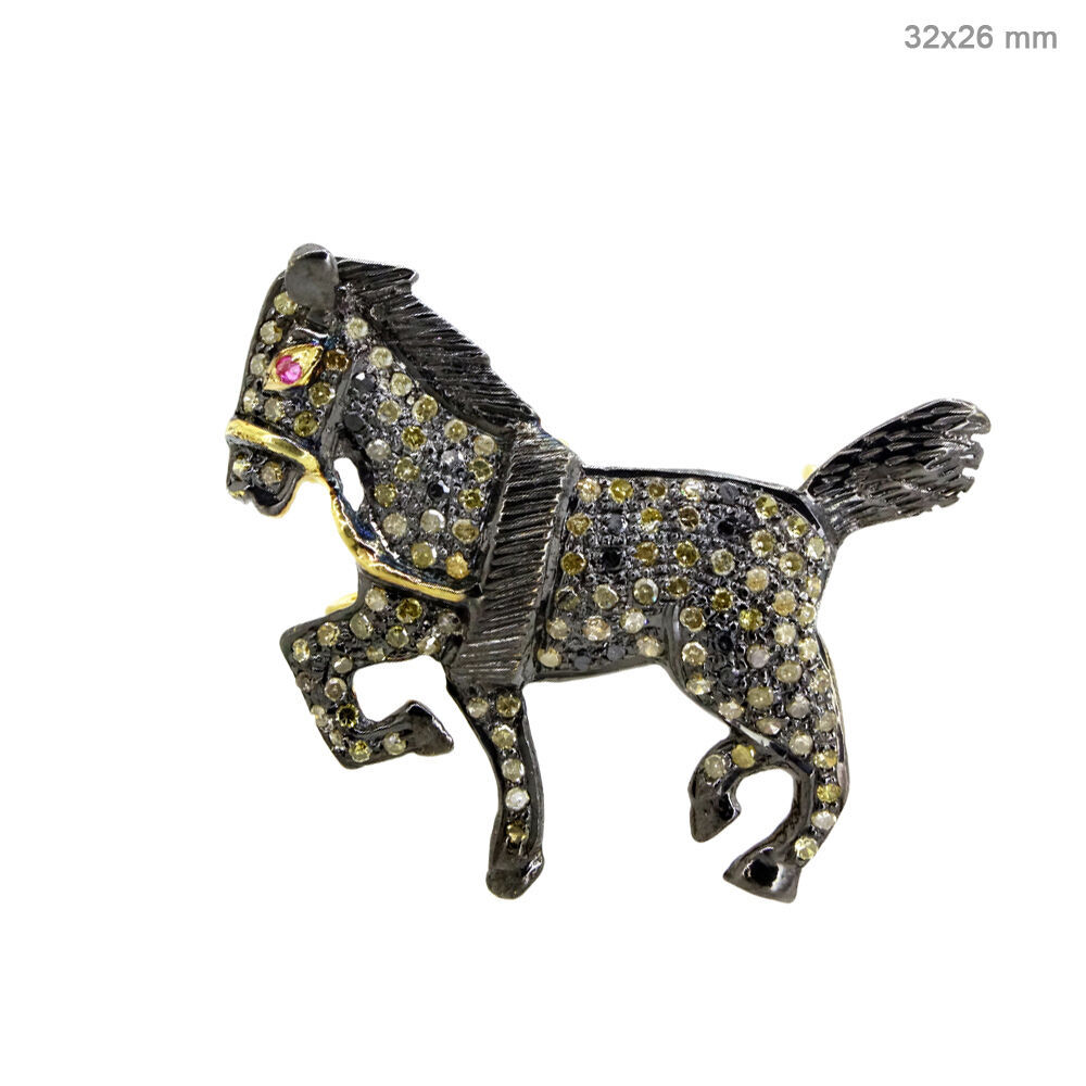 Primary image for 14 K Gold Diamond Pave .925 Silver Ruby HORSE Pendant Brooch GIFT Jewelry