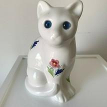 Vintage Portugal Large ELPA Alcobaca White Cat Figurine Flowers Blue Eyes  - £15.00 GBP