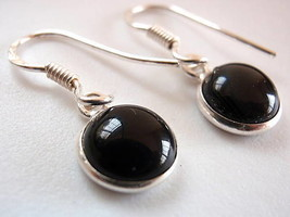 Petite Black Onyx 925 Silver Dangle Earrings India - $11.87