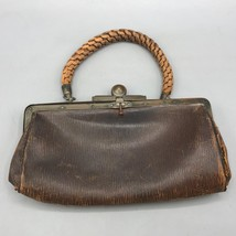 Antique Victorian Leather Handbag with Metal Clasp and Leather Strap - $34.64