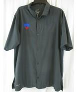 SMU Nike Dri Fit Mens Button Down Short Sleeve Shirt L Gray - $20.78