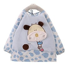 Velvet Waterproof Baby Bib Overclothes Kids Painting Smock Blue, 1-2 Years
