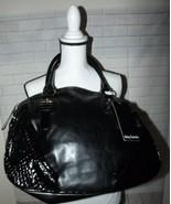 Daisy Fuentes Large Satchel Handbag Black Faux Leather Silver Buckles Ri... - $25.13