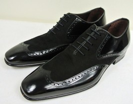 Handmade Men's Black Leather and Suede Wing Tip Oxford Shoes image 2