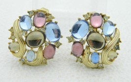 Vintage CROWN TRIFARI Jewels of Fantasy Pastel Cabochons Rhinestone Earr... - $49.49