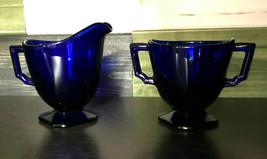 "Fostoria ""MAYFAIR""  Cobalt Blue Footed Individual Creamer & Sugar - $29.99"