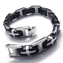 Men's Rubber Stainless Steel Bracelet I Word Cross Buckle Silver Black - $16.50