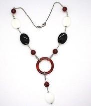 925 Silver Necklace, White Agate, Onyx, Carnelian, Pendant, Chain Rolo image 2