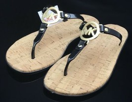 NEW Black MICHAEL KORS Gold MK CHARM JELLY Cork FLIP FLOPS Sandals Shoes... - $54.32