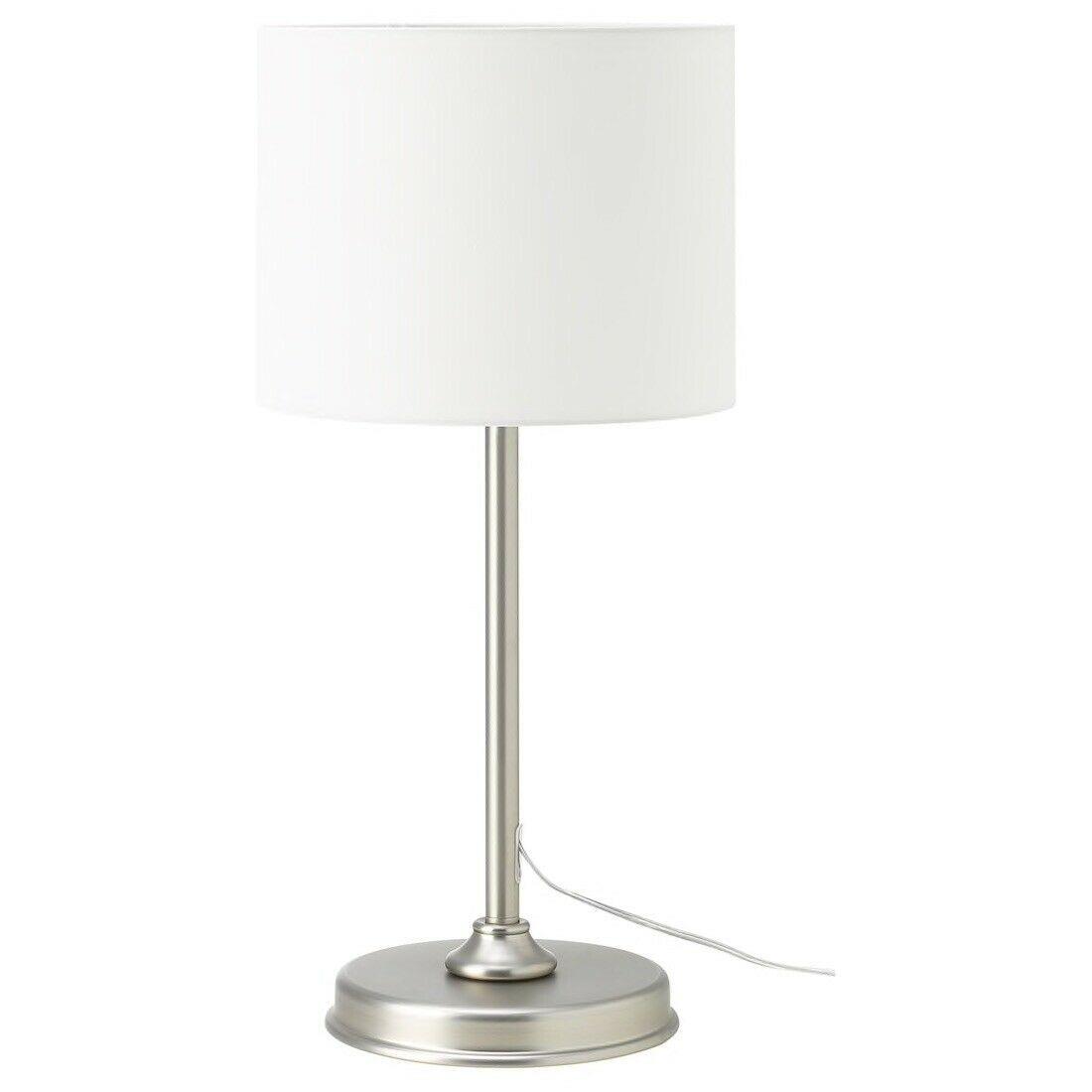 IKEA MILLERYR Table lamp, white, nickel plated (adjustable)