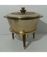 Georges Briard Teak Brass & Gold Anodized Chafing Dish 4 Piece Danish Mo... - $54.99