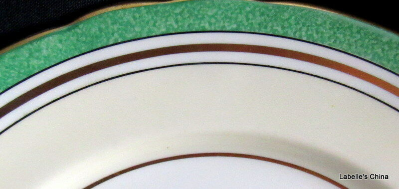 """8"""" Salad Plate Green Flowers 7359 Made in England by Aynsley English Bone China image 2"""