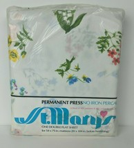 Vintage NOS St Mary's Percale Double Flat Sheet Floral Alpine Flowers 6300 - $21.78