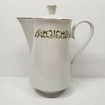 Bell Flower Fine China #2999 White Coffee Tea Pot Pitcher Green Scroll G... - $49.00