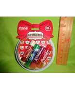 LIP SMACKER 4pc Gift Set Snow Globe Ornament COCA COLA lip Balm Gloss HO... - $10.88