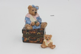 Boyd's Bearware Pottery numbered, hinged porcelain box bear on trunk Tri... - $15.00