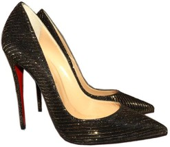 f55ff8422860b Christian Louboutin So Kate Pointed Toe Pump Black-Gold Glitter Shoes 40 -   429.99