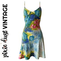 Vintage Dress Y2K Floral Slip Minidress 1990s 90s 2000s 00s Mini Size Small - $43.43