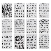 """5x7"""" 12 Pack Letter and Number Alphabet Stencils for A5 Bullet Journal S... - $14.83"""