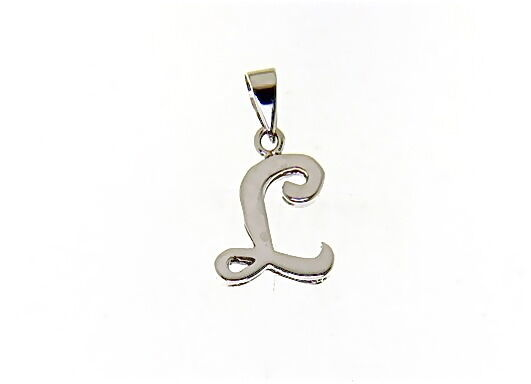 18K WHITE GOLD LUSTER PENDANT WITH INITIAL L LETTER L MADE IN ITALY 0.71 INCHES