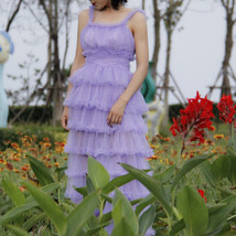 Women Purple Layered Tulle Skirt Outfit Plus Size Romantic Wedding Party Outfit  image 10