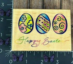 Embossing Arts Co. Happy Easter Decorated Eggs Rubber Stamp 1999 1147F #... - $6.44