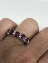 Vintage Red Tourmaline Ring 925 Sterling Silver Size 7 - $102.95