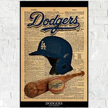 Los Angeles Dodgers Poster print Vintage Dictionary style on word DODGER... - $25.00