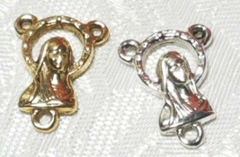 VIRGIN MARY FINE PEWTER ROSARY CONNECTOR - 13x18x3mm