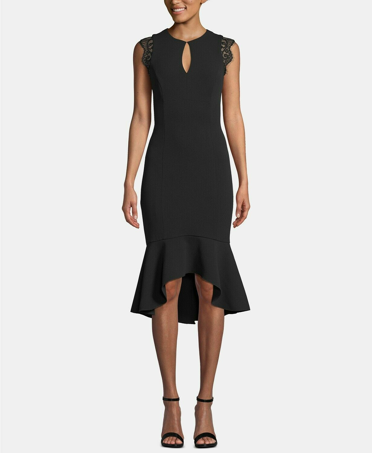 Betsy & Adam Keyhole Lace-Flounce Midi Dress Black Size 6 $249
