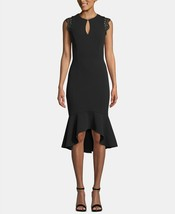 Betsy & Adam Keyhole Lace-Flounce Midi Dress Black Size 6 $249 image 1