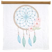 "Jack Dempsey Stamped White Wall Or Lap Quilt 36""X36""-Dream Catcher - $16.10"