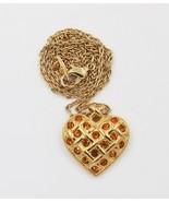 Vintage Avon Gold Tone Citrine Yellow Rhinestone Heart Pendant Necklace - $19.79