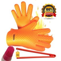 MAX Heat Resistant BBQ Gloves With BBQ Tongs and Basting Brush,Pot Holder - $13.99